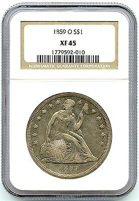 1859-O Liberty Seated Silver Dollar, NGC XF-45, Nice Silver Toning, Great Coin!