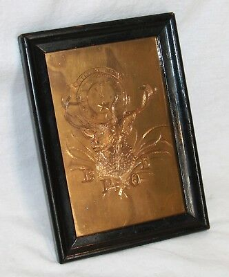 Vintage BPOE Elk Elks wall plaque framed engraved etched gilt brass Cervus Alces