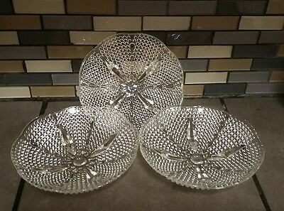 Set of 3  Vintage Hobnail Footed Glass Scalloped Dish Relish Candy Bowl