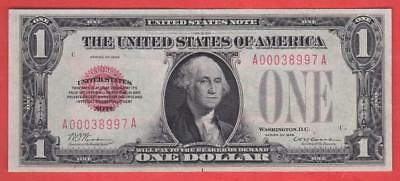 "$1 1928 Red Seal ""AU++"" FUNNYBACK United States Note!"