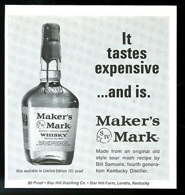 1967 Maker's Mark whisky classic bottle photo Tastes Expensive and Is print ad