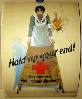 Antique Orig WWI Red Cross War Fund Poster 20x27 Nurse w Stretcher WB King 1910s