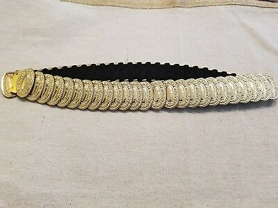 Vintage Gold Tone Metal Embossed Oval Design Disc Stretch Belt  22""
