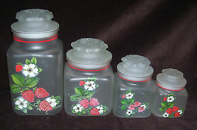 Set of 4 Vintage Anchor Hocking Frosted Canisters Strawberries Blossoms  REDUCED