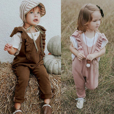 Baby Girls Kids Ruffle Romper Overalls Bib Long Pants Outfits Jumpsuit Clothes