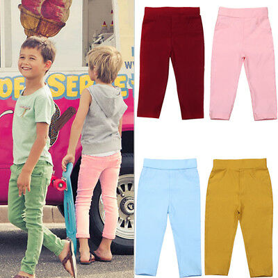 Kids Child Baby Boy Girl Stretch Pants Clothes Trousers Slacks Casual Bottoms
