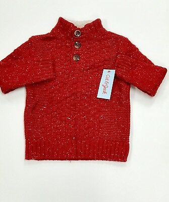 NEW Cat & Jack Boy's Red Sweater with Fuzzy Collar - Size 3T