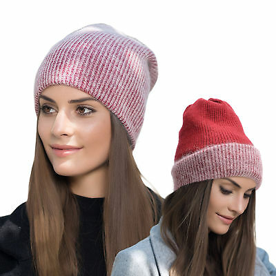 Womens Solid Color Cashmere Beanie Hat Ski Cap Slouch Warm Winter Skull Y88