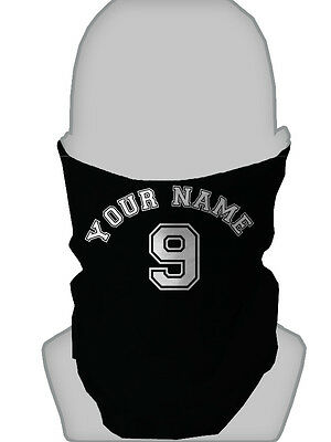 Personalised Black Name & Number Design Football Snood Neckwarmer Mask Snood