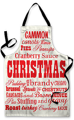 Splashproof Novelty Apron Christmas Typography Cooking Painting Art Kitchen BBQ