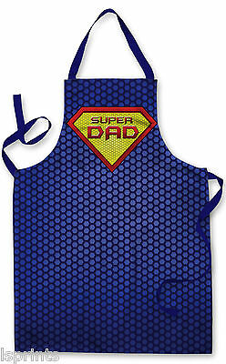 Splashproof Novelty Apron Super Dad Cooking Painting Art Kitchen BBQ Gift