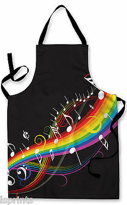 Splashproof Novelty Apron Rainbow Music Cooking Painting Art Kitchen BBQ Gift