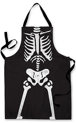Splashproof Novelty Apron Halloween Skeleton Cooking Painting Art Kitchen BBQ