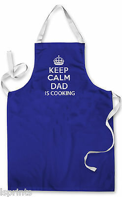 Splashproof Novelty Apron Keep Calm Dad is Cooking Painting Art Kitchen BBQ Gift