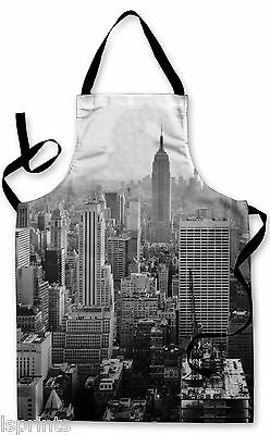 Splashproof Novelty Apron New York Skyline Cooking Painting Art Kitchen BBQ Gift
