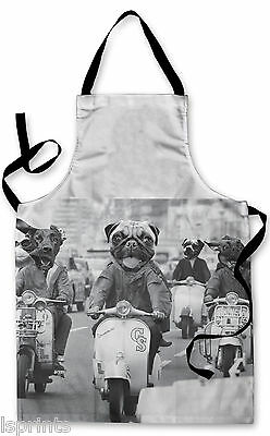 Splashproof Novelty Apron Dogs on Scooters Cooking Painting Art Kitchen BBQ Gift