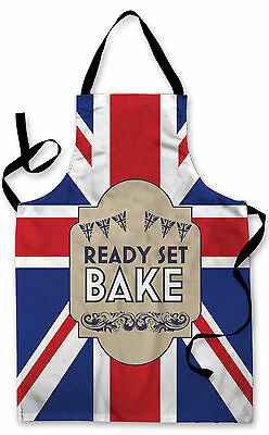 Splashproof Novelty Apron Union Jack Bake Off Cooking Painting Art Kitchen BBQ