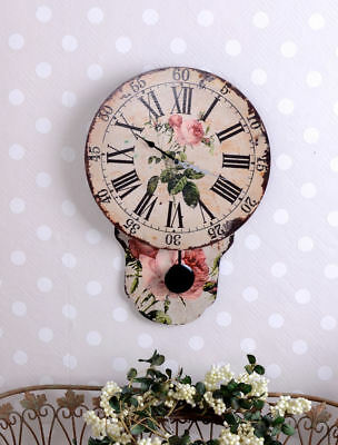 Pendulum Clock Shabby Vintage English Roses Wall Clock Pendulum