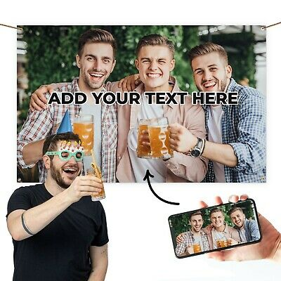 Large Personalised Fabric Party Banner Decoration 5' X 3' Flag With 4 Eyelets