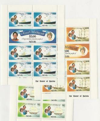 Nevis, Postage Stamp, #135, 137, 139 Mint NH Sheets, Princess Diana, Ships