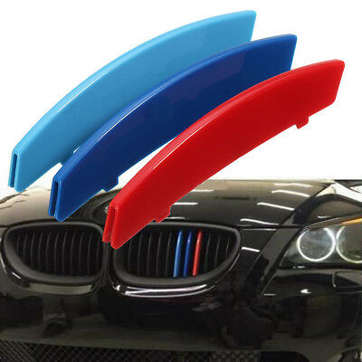 3x Colour Car Front Grille Sport Strips Cover Clip For BMW 5 E60 2004-2010