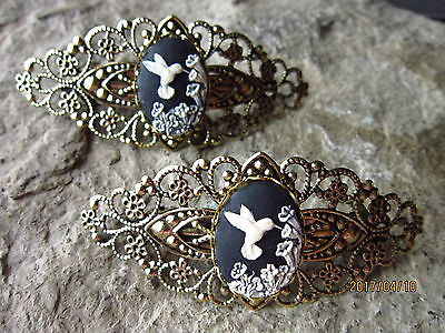 Pair Of Black Hummingbird Cameo Gold Filigree Barrettes - Victorian, Wedding
