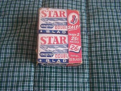Vintage Double Pack Star Razor Blades Shave Shaving 13 Blades Included