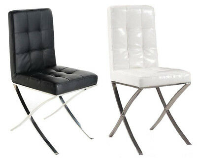 Remarkable 2 X Faux Leather Dining Chair Black White Modern Slim Chrome Gmtry Best Dining Table And Chair Ideas Images Gmtryco