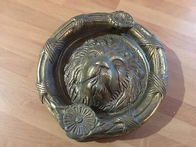 vintage large solid brass lions head door knocker lovely detail 1.0kg in weight
