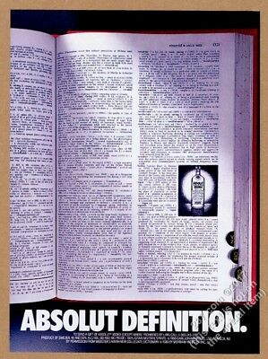 1990 Absolut Definition vodka bottle in dictionary photo vintage print ad
