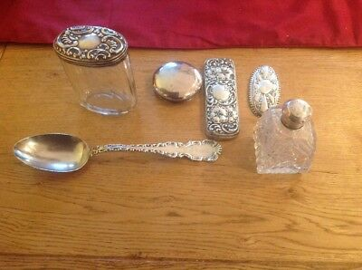 Job Lot of Solid Silver Spoon,silver Topped Jar , Perfume Bottle Ect