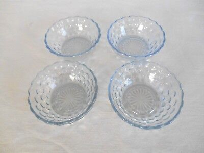 "4 Hocking SAPPHIRE BLUE BUBBLE 4 1/2"" FRUIT BOWLS - 1940 to 1965"