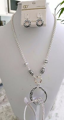 Eyeglass Loop Necklace Silver La With Matching Earrings