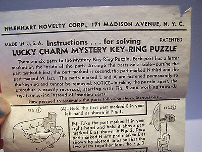 Vintage 1950's Puzzle Lucky Charm Mystery Keychain Instructions Only Helenhart