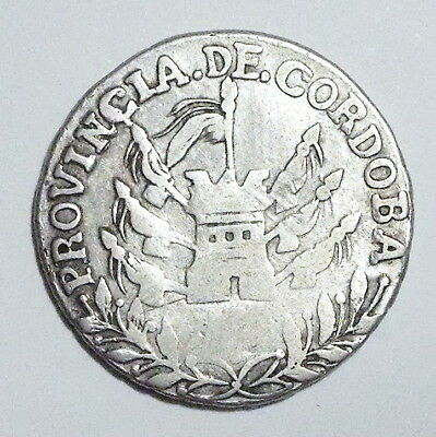 ARGENTINA - Province of CORDOBA - 2 Reales 1844 Silver -SCARCE- GREAT CONDITION