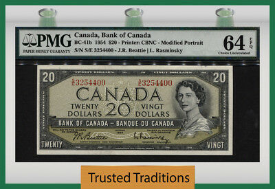 T BC-41b 1954 CANADA $20 YOUNG QUEEN ELIZABETH II PMG 64 EPQ CHOICE UNCIRCULATED