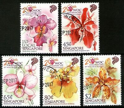 Singapore 2011 Orchids set of 5 Fine Used