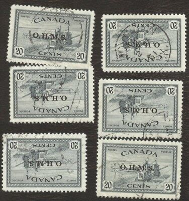 Stamps Canada # 08, 20¢, 1946, lot of 6 damaged used stamps.