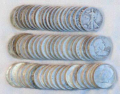 U.S. Half Dollar Lot With Walking Libertys, Franklins and Kennedys