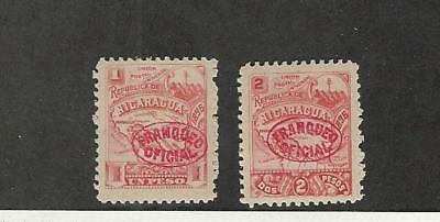 Nicaragua, Postage Stamp, #O88-O89 Mint Hinged, 1896 Official