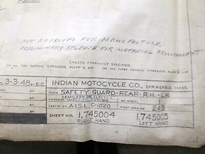 Original Pencil Indian Motorcycle Co Safety Guard Rear RH-LH