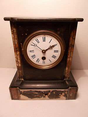 French Victorian Black Slate Mantel Clock Case 8 Day Timepiece Spares Repair