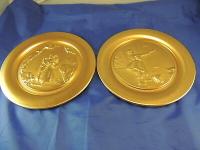 Norman Rockwell Tom Sawyer Continental Mint Plates Collector Gold Plated