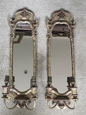 Pair Of Vintage Gilt Mirrored Chinoiserie Style Double Wall Lights