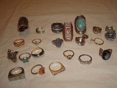 vintage lot of 21 cocktail fashion rings mixed lot