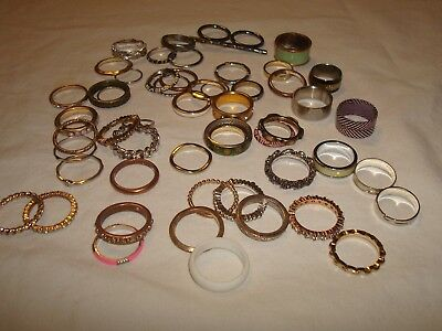 vintage lot of 53 cocktail band style rings mixed