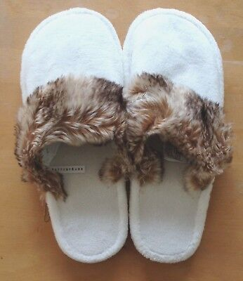 New Pottery Barn Ombre Faux Fur Cozy Slippers Large Brown size Women's 10 or 11