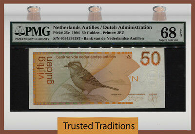 TT PK 25c 1994 NETHERLANDS ANTILLES / DUTCH ADMIN. 50 GULDEN PMG 68 EPQ SUPERB!