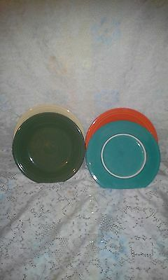 "4 DINNER PLATES set lot  poppy sage turquoise + FIESTA WARE 10.5"" NEW"