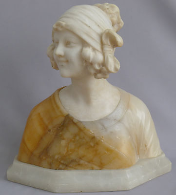 Beautiful Two tone Marble Bust of woman signed Prof G Bessie Italian Circa 1880